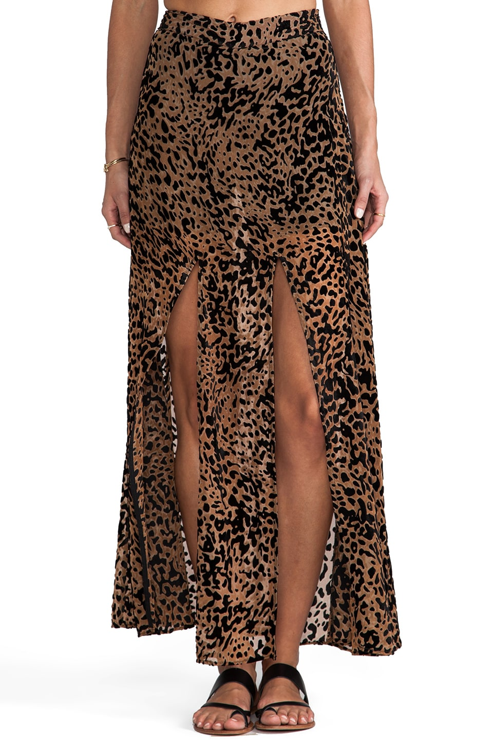 Lovers + Friends One and Only Maxi Skirt in Leopard Burnout