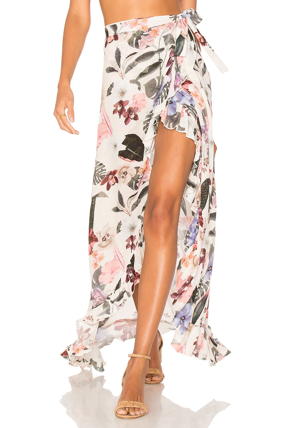 Lovers + Friends Waves for Days Wrap Skirt in Ivory Floral
