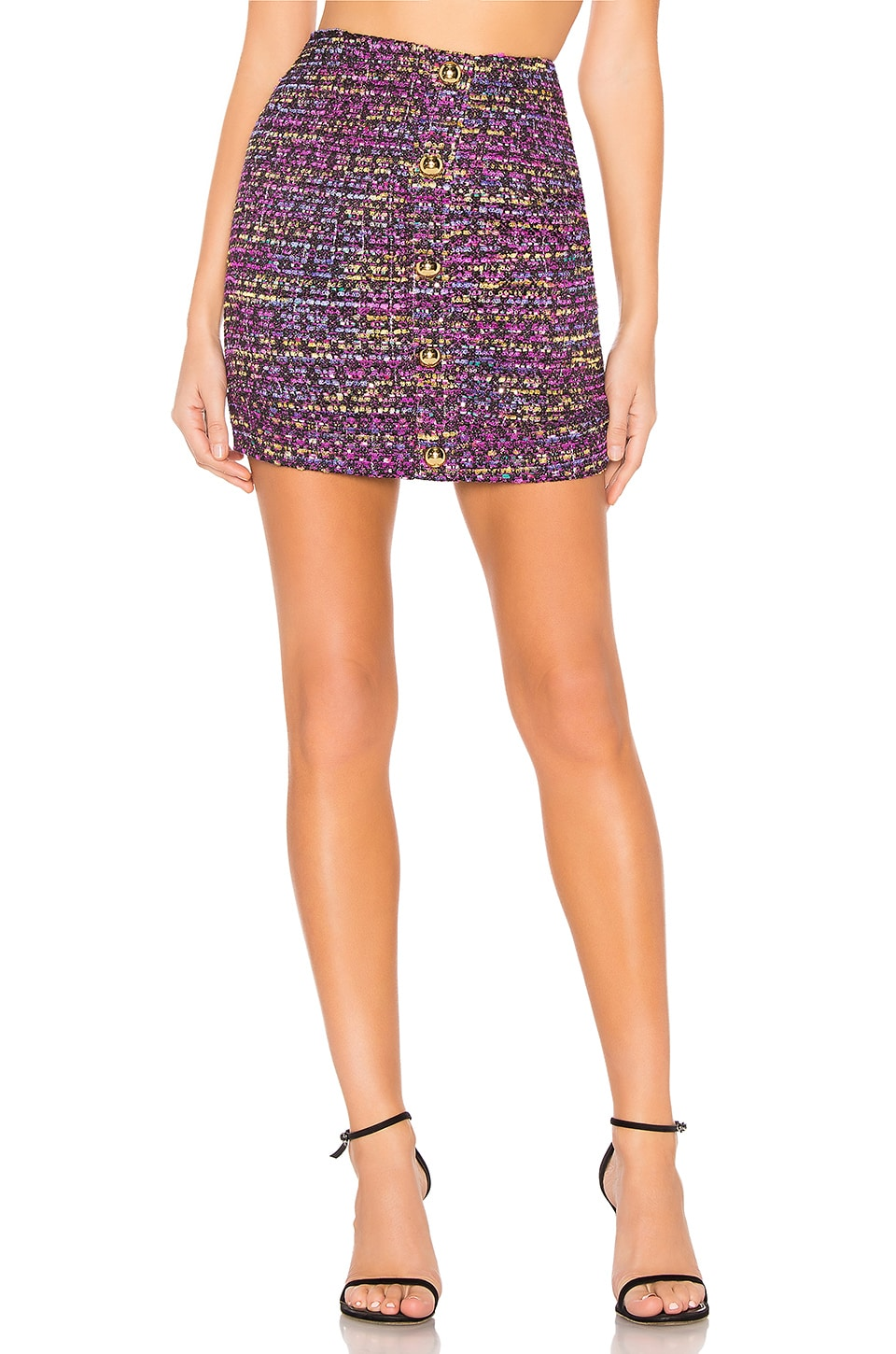 Lovers + Friends Lennon Mini Skirt in Rainbow Tweed