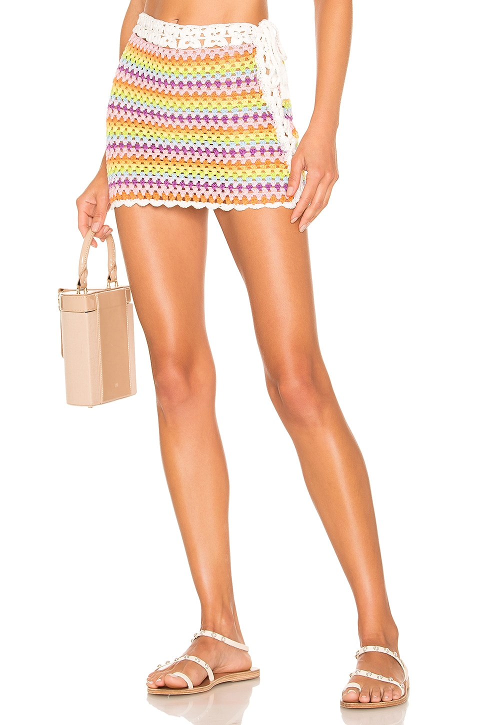 Lovers + Friends Over The Rainbow Skirt in Pastel Rainbow