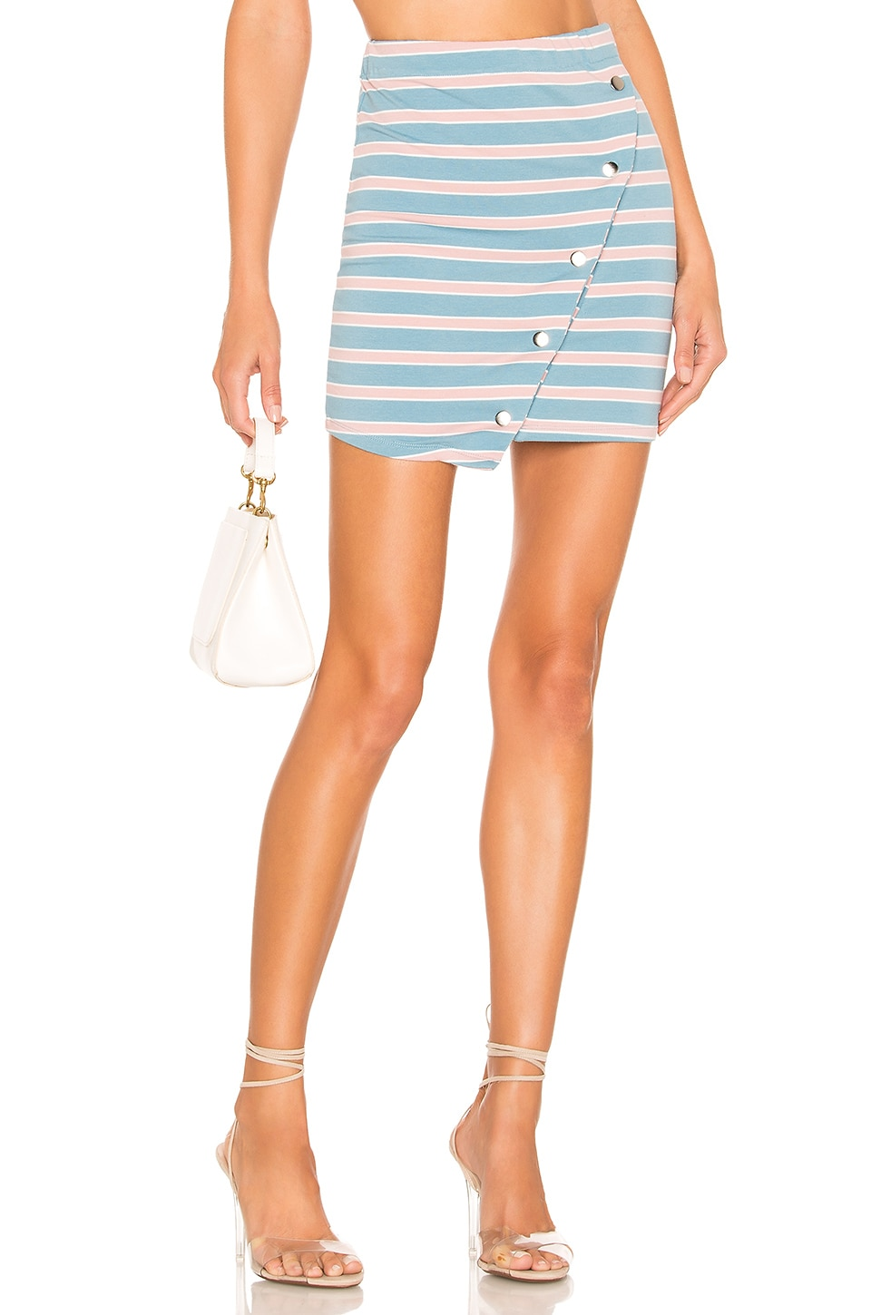 Lovers + Friends Renn Mini Skirt in Rose & Blue Stripe