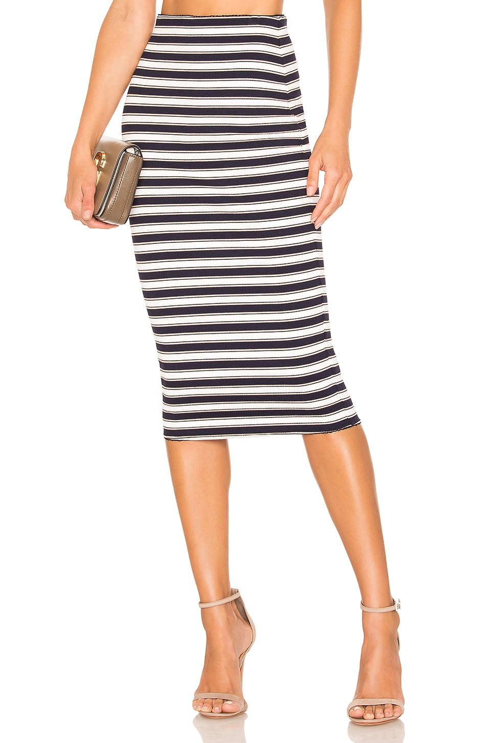 Lovers + Friends Karlie Midi Skirt in Navy & White Stripe