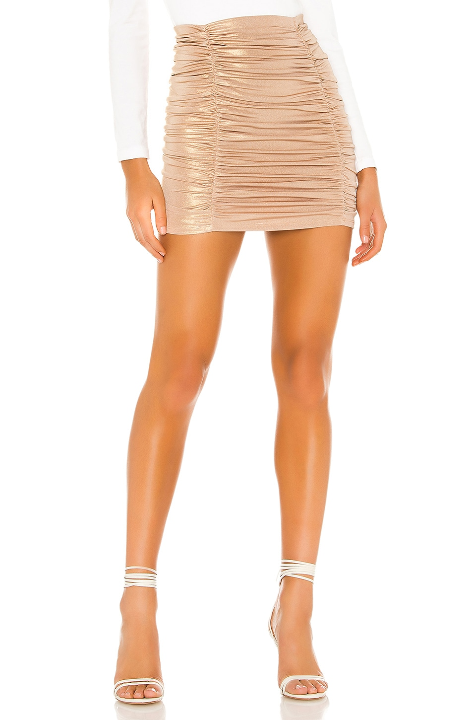 Lovers + Friends Sylvia Skirt in Tan Metallic
