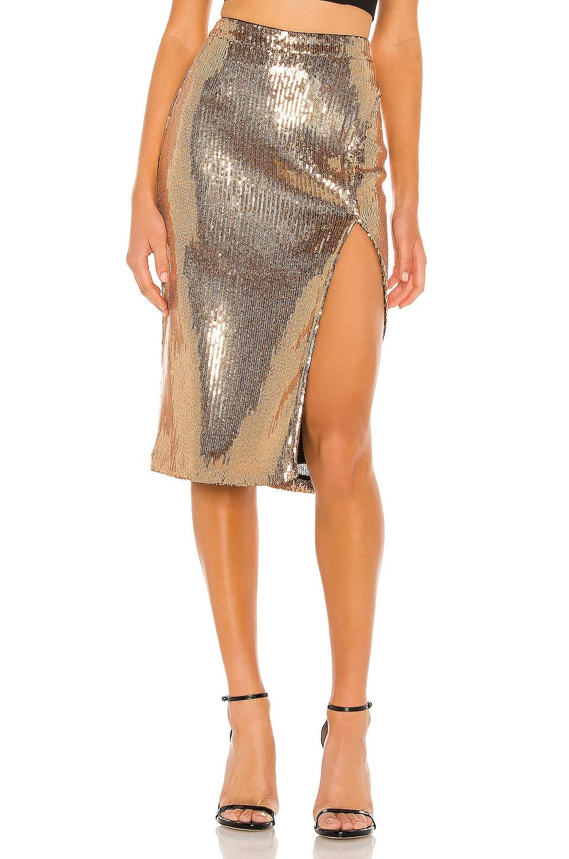 Lovers + Friends Duchess Sequin Skirt in Gold