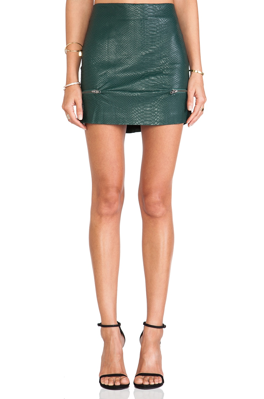Lovers + Friends Good To Be Bad Mini Skirt in Evergreen Crocodile