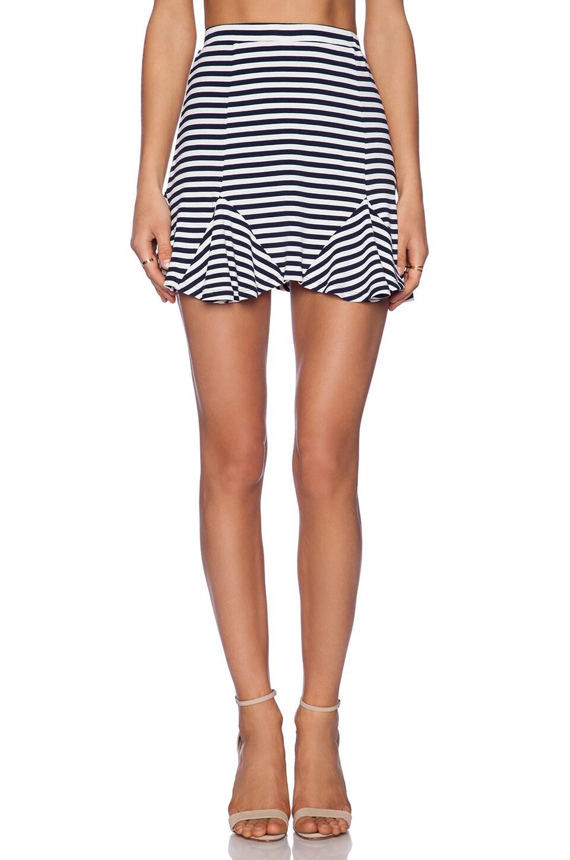 Lovers + Friends Getaway Skirt in Navy Stripe