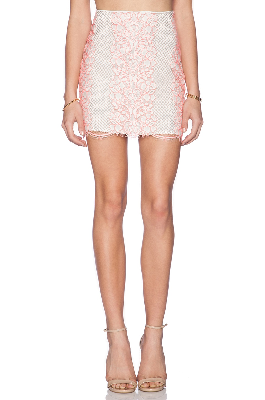 Lovers + Friends Taluca Mini Skirt in Neon Coral