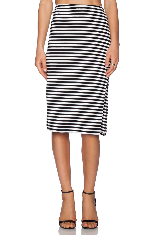 Lovers + Friends Iggy Midi Skirt in Black Stripe