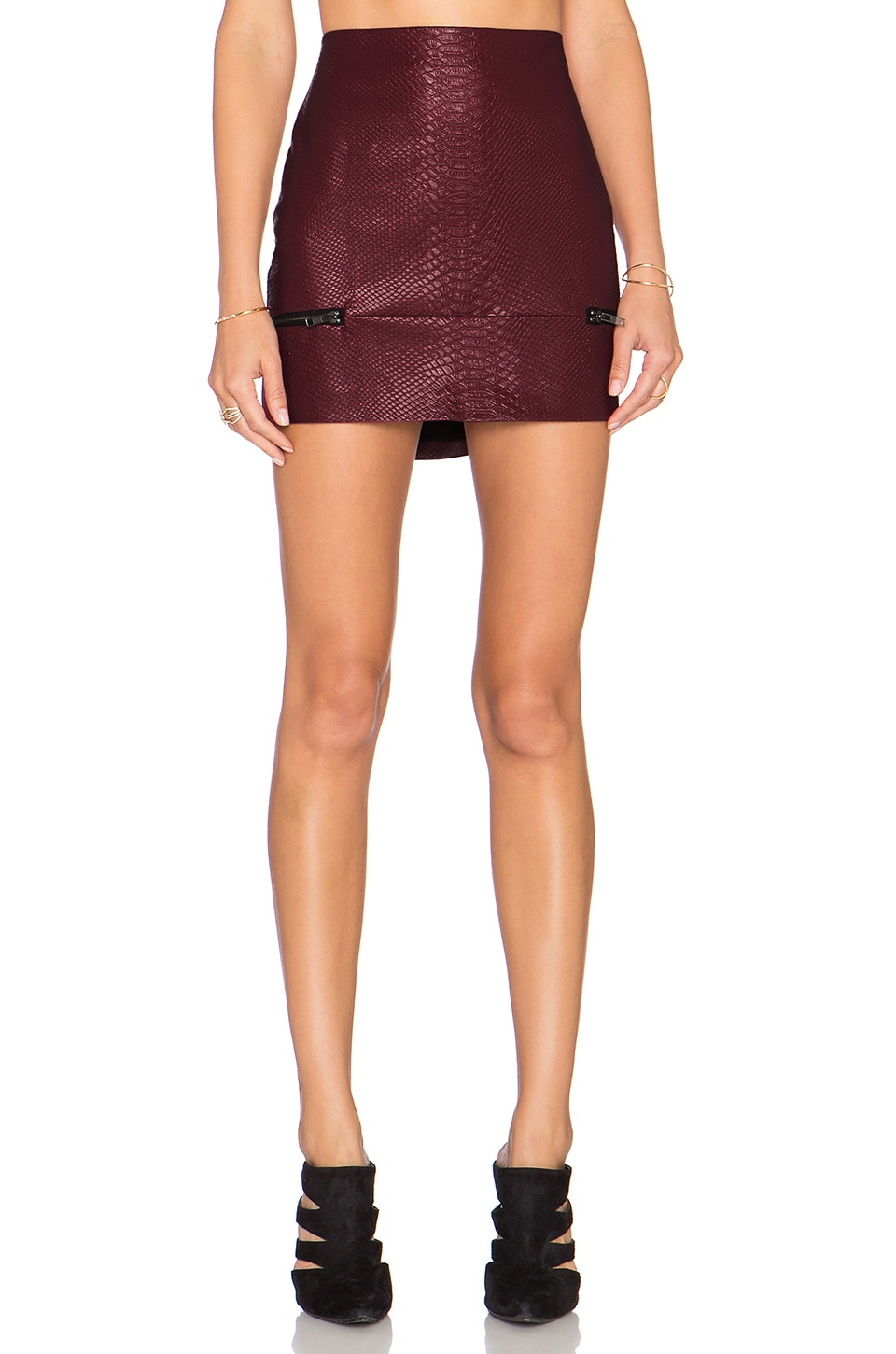 Lovers + Friends x REVOLVE Good To Be Bad Mini Skirt in Bordaeux