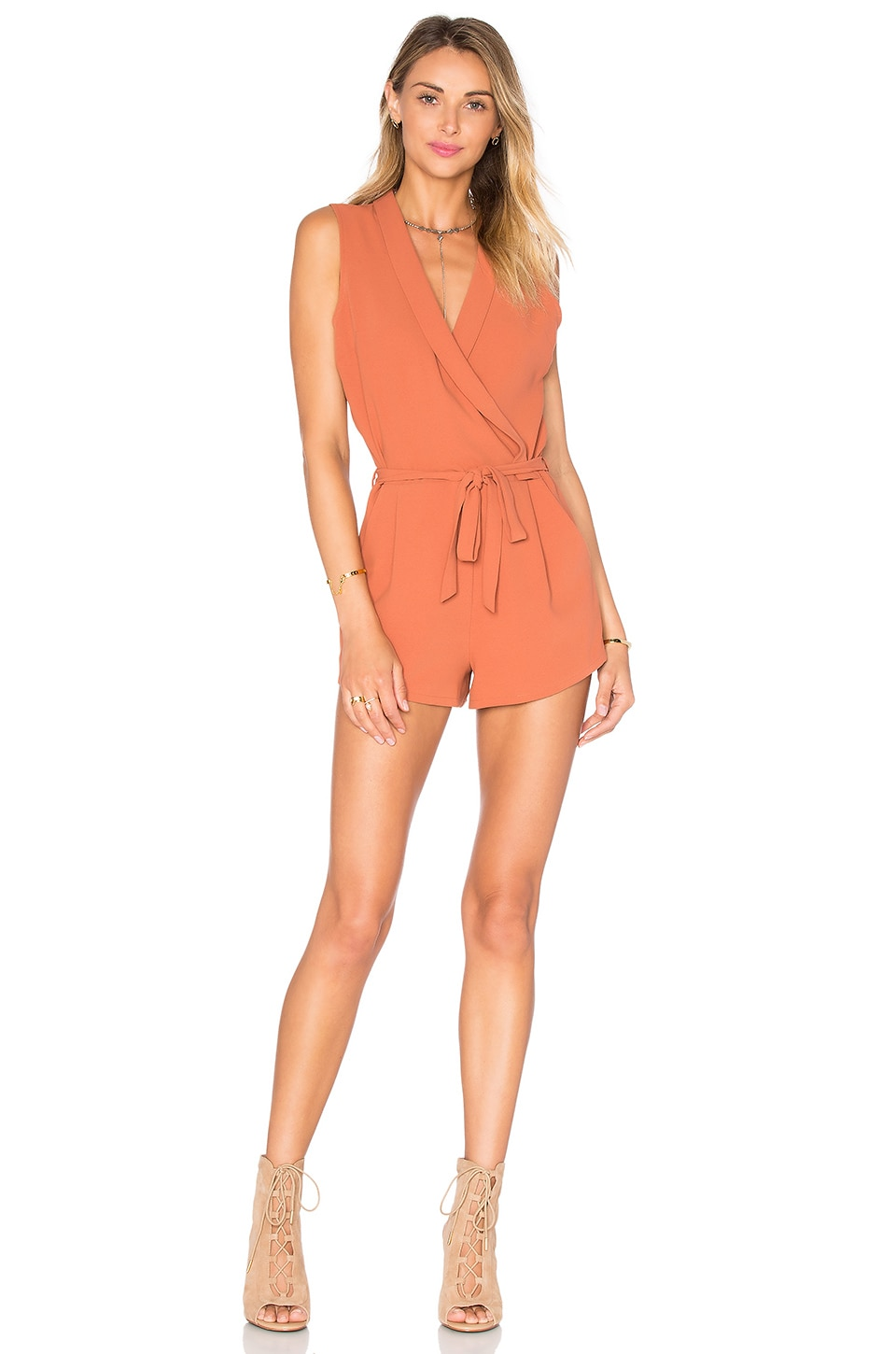 Lovers + Friends Distance Romper in Faded Rust