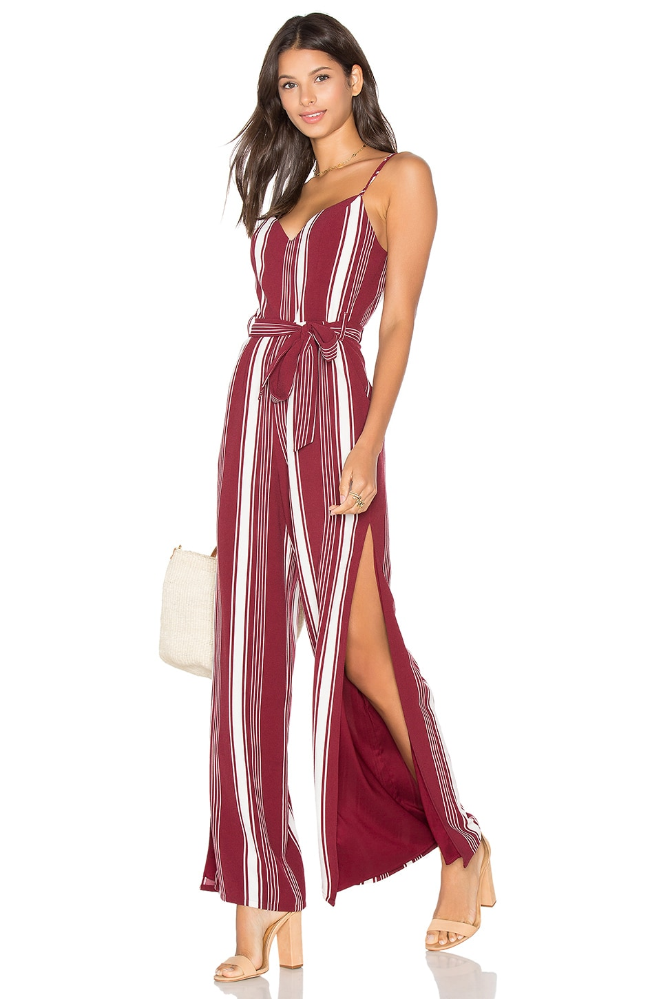Lovers + Friends Charisma Jumpsuit in Cranberry Stripe