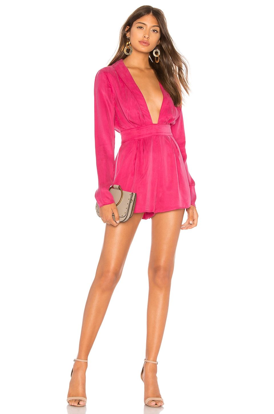 Lovers + Friends Tosh Romper in Hot Pink