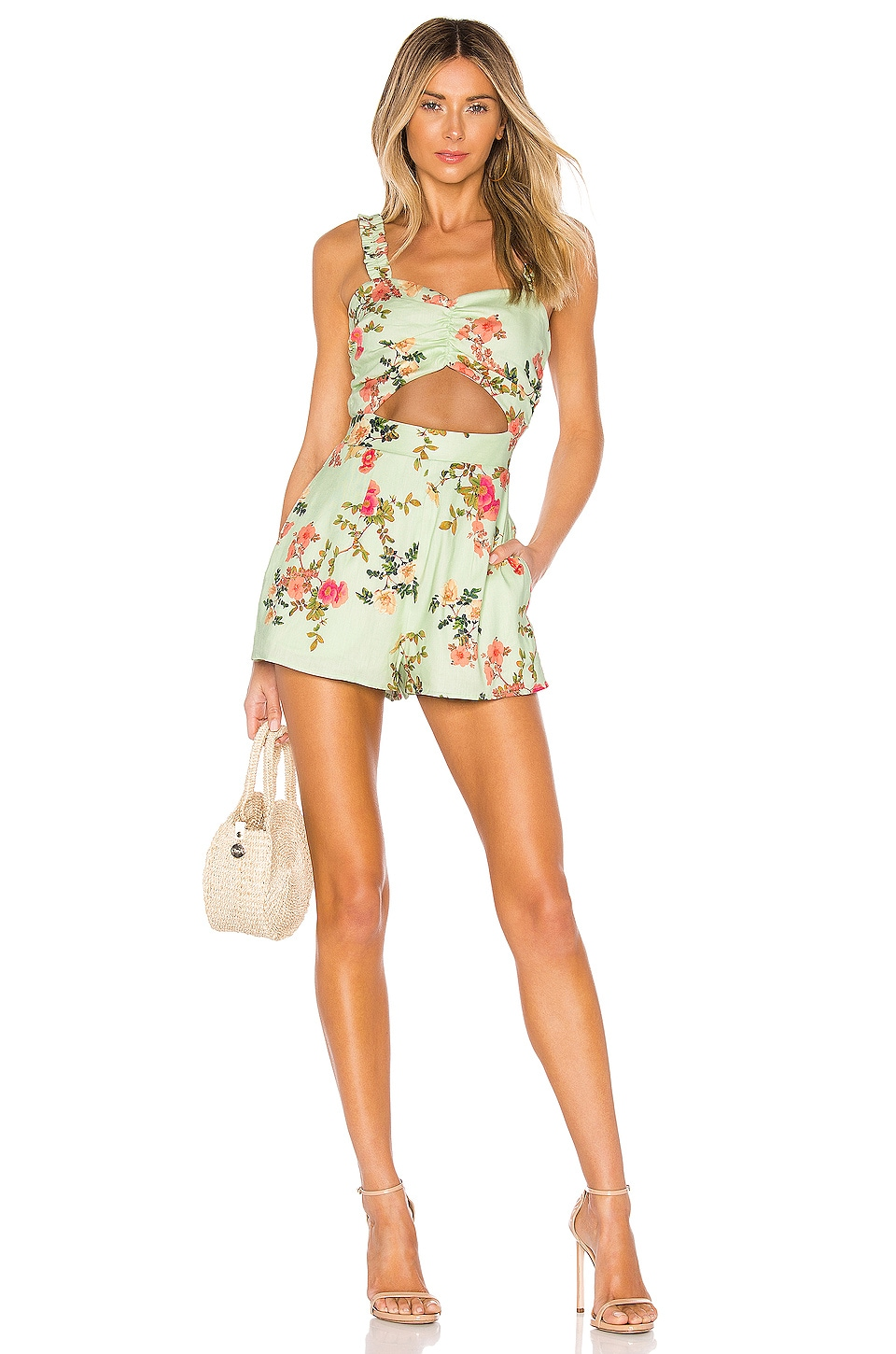 Lovers + Friends Brett Romper in Sage Floral