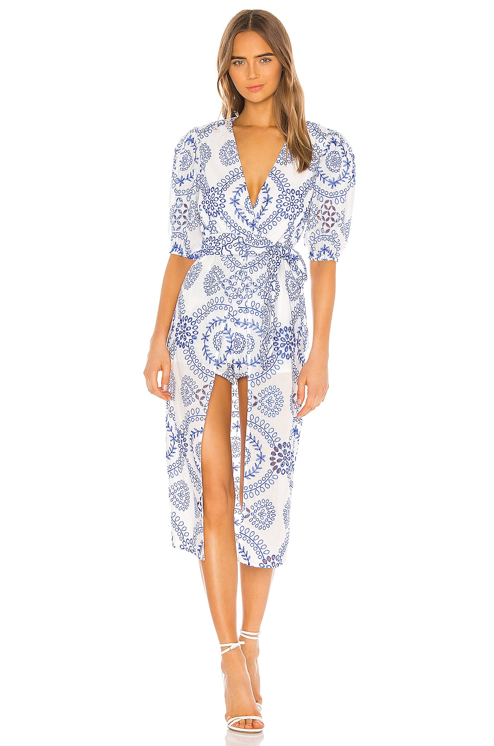 Lovers + Friends Jennings Romper in White & Blue