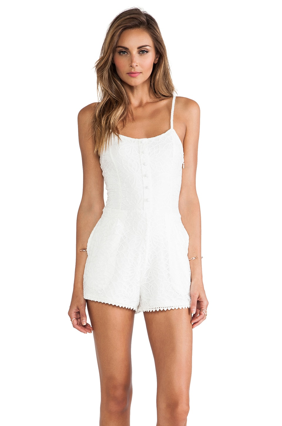 Lovers + Friends Escape Romper in White Lace