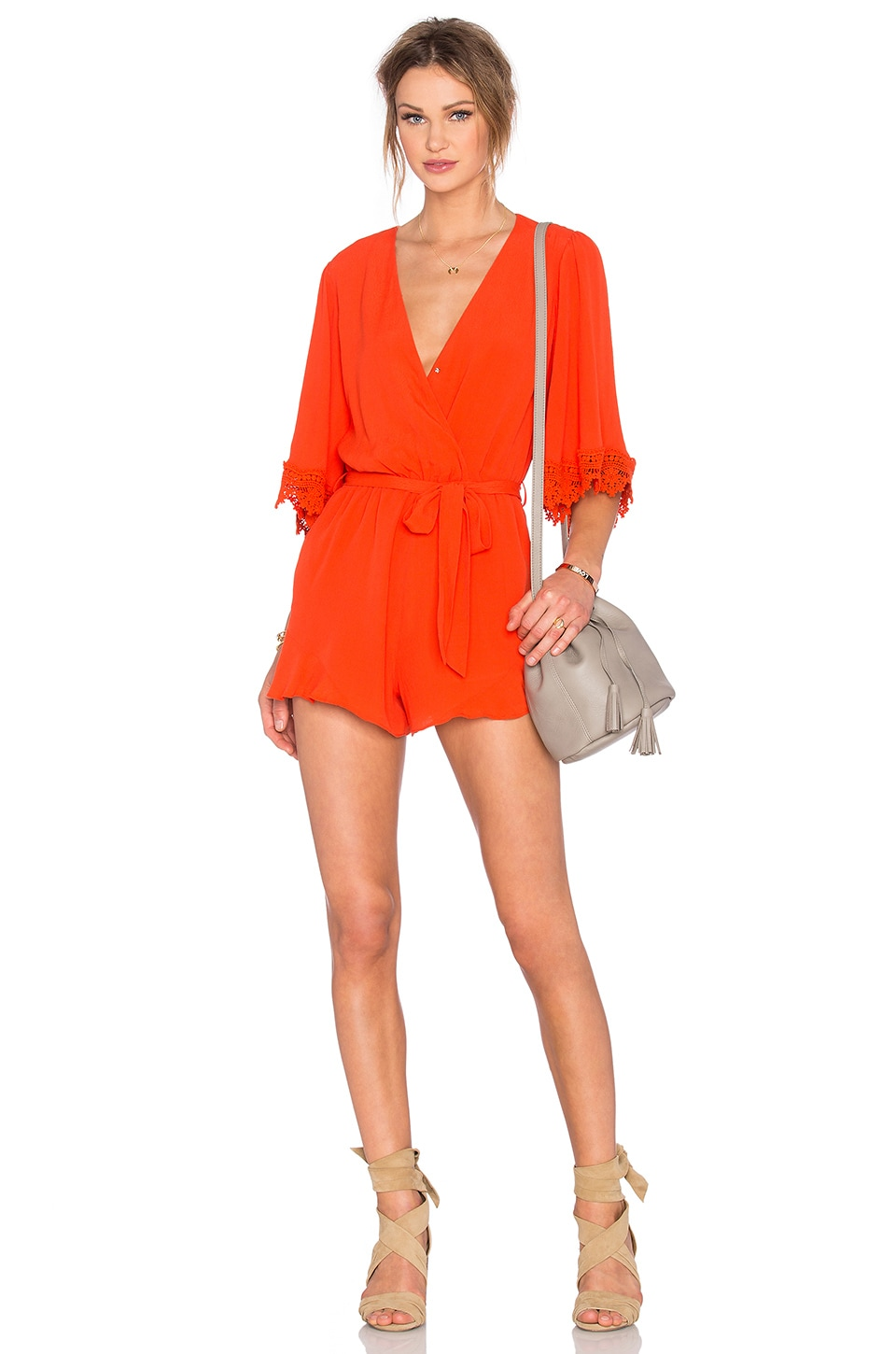 Lovers + Friends Reese Romper in Coral Reef
