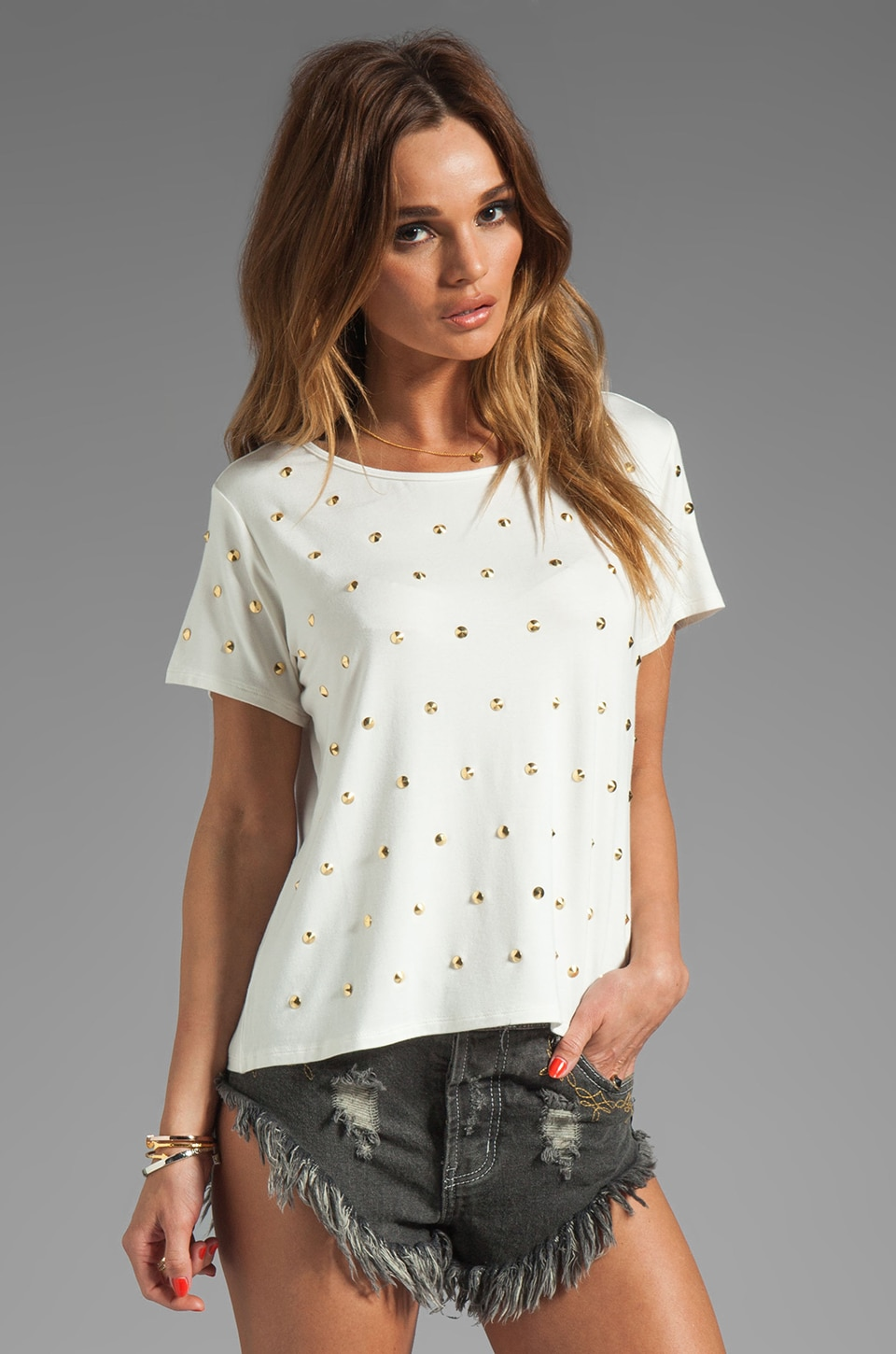 Lovers + Friends Kiss Me Studded Top in White