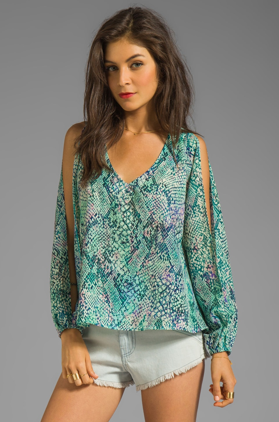 Lovers + Friends Daydream Blouse in Snakeskin
