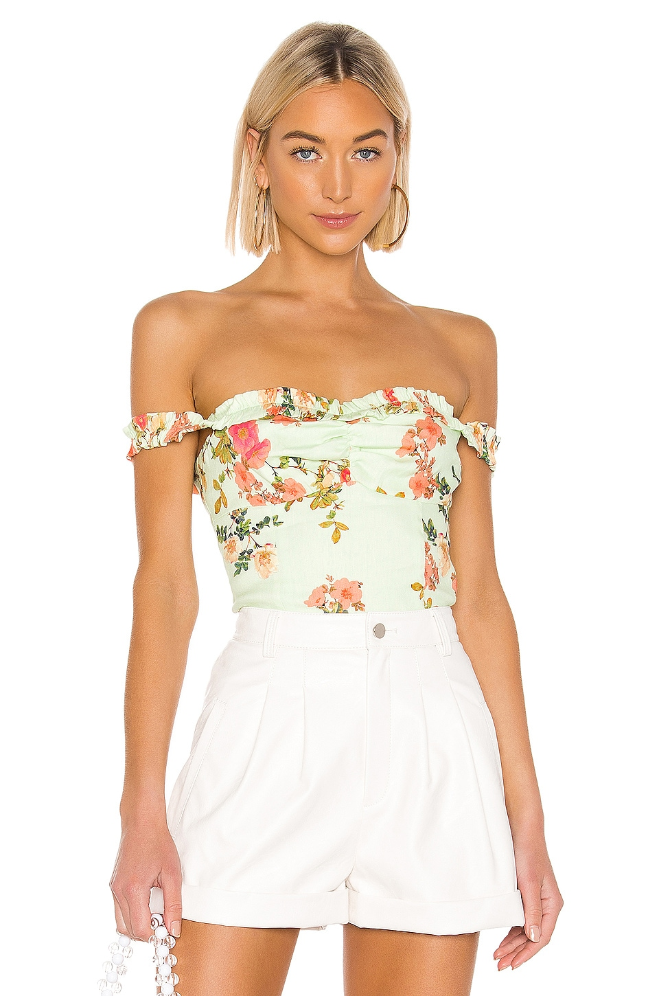 Lovers + Friends Laney Top in Sage Floral
