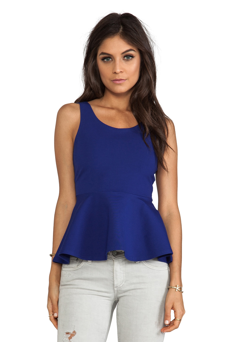 Lovers + Friends Fantastic Peplum Tank Top in Surf The Web