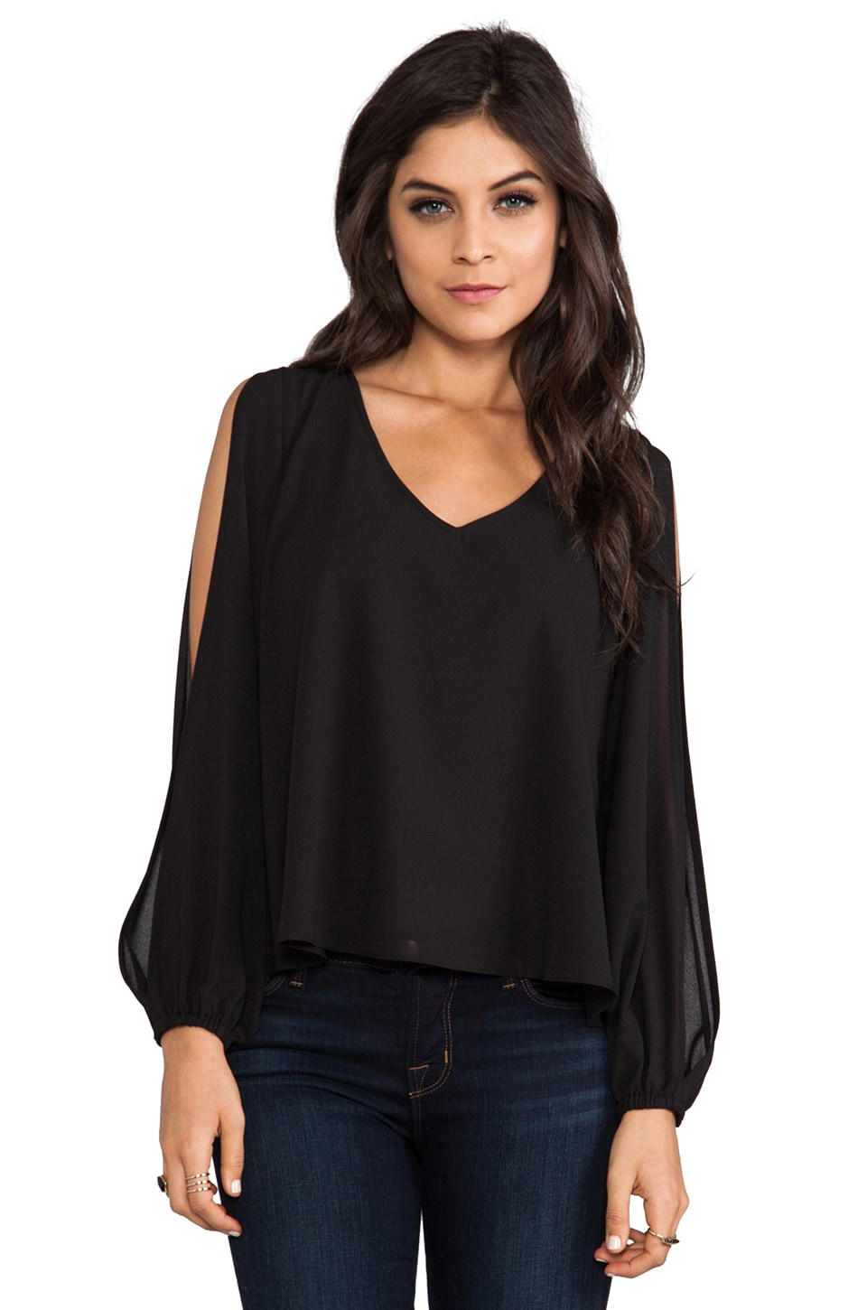 Lovers + Friends Daydream Open Shoulder Blouse in Black