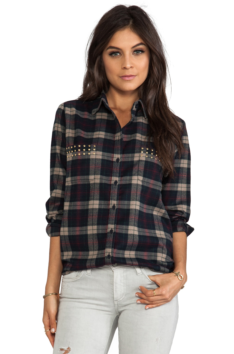 Lovers + Friends Boyfriend Button Up Blouse in Plaid w/ Studs