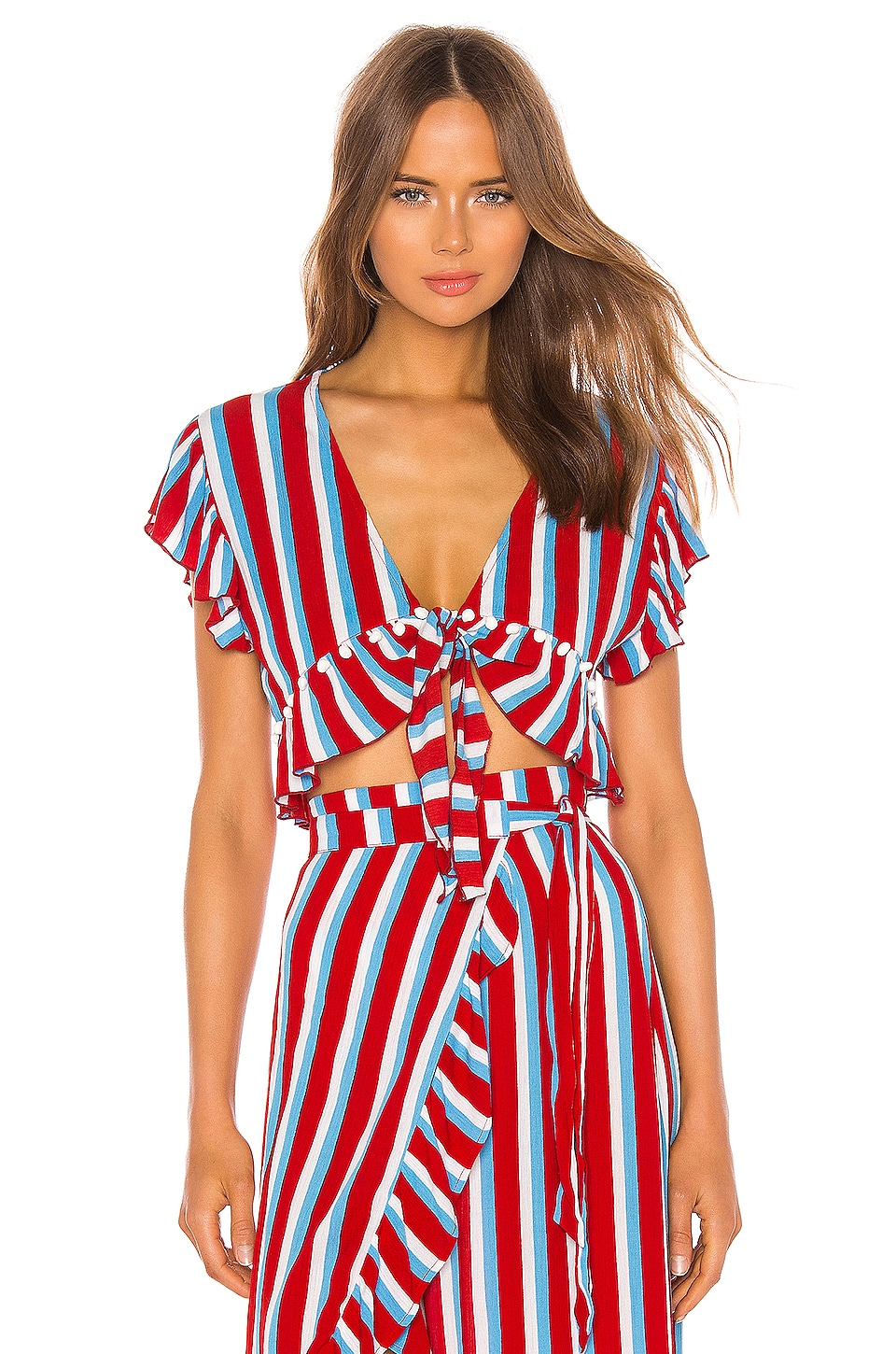 Lovers + Friends Waves For Days Crop Top in Americana Stripe