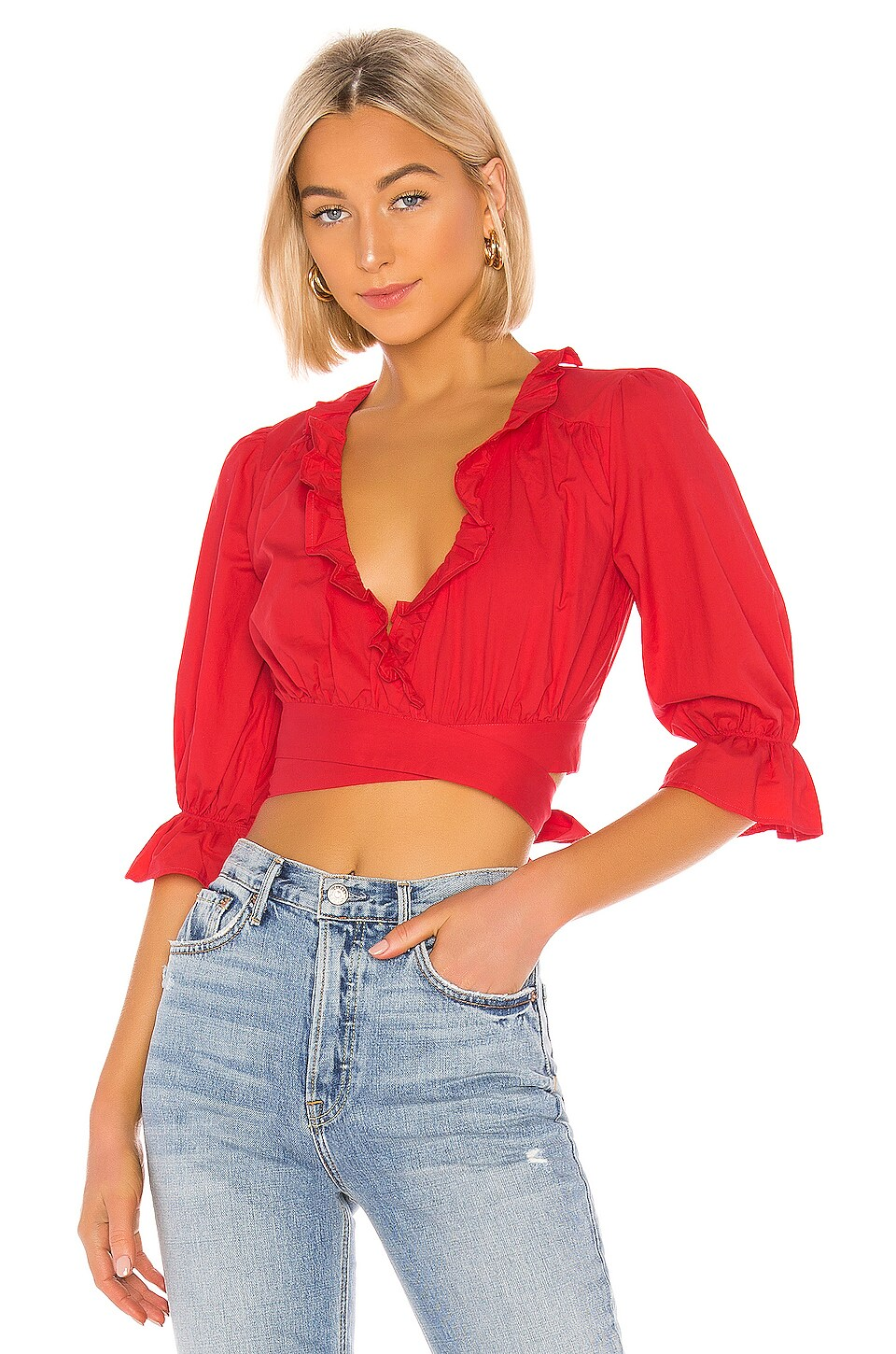 Lovers + Friends Duke Top in Cherry Red