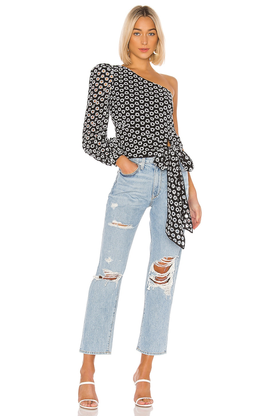 Lovers + Friends Kendall Blouse in Black & White