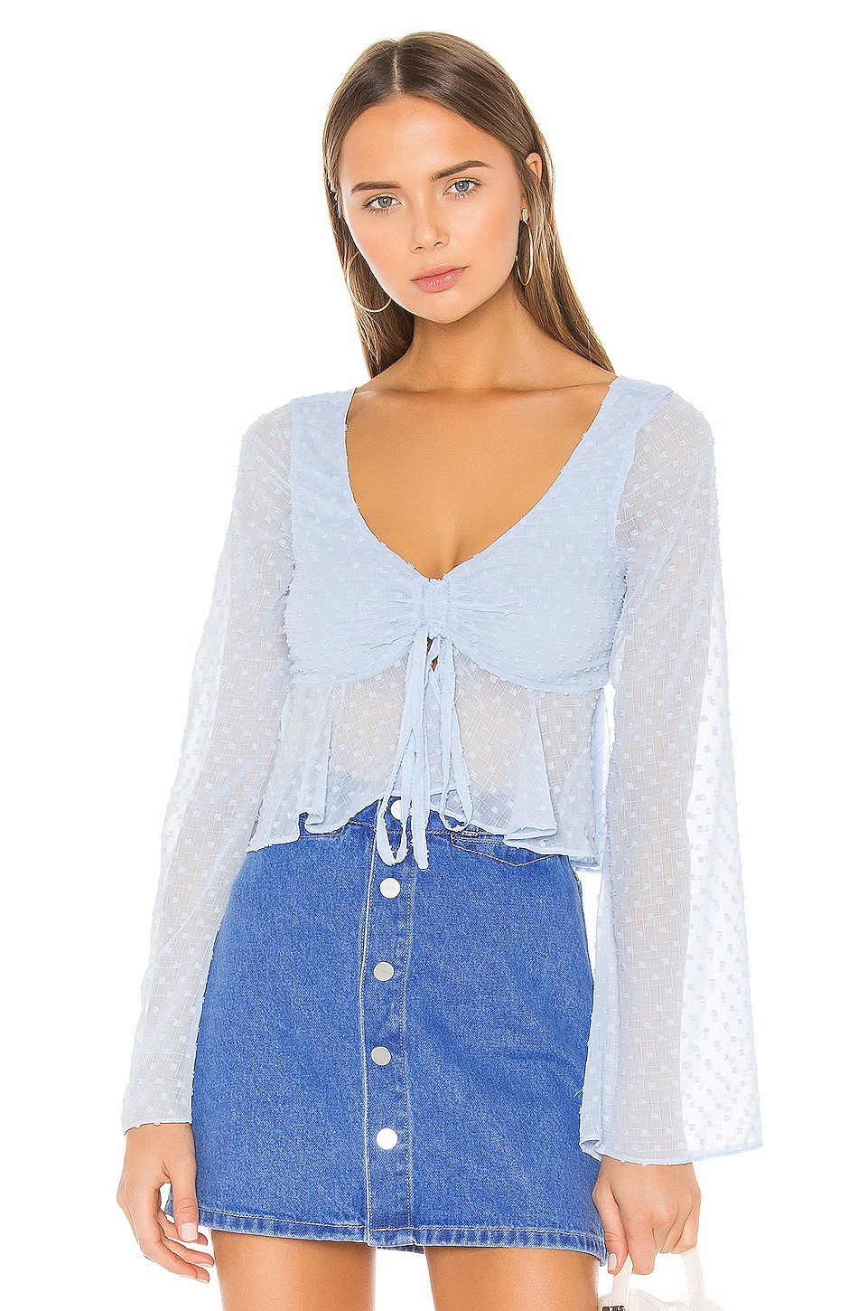 Lovers + Friends Lily Top in Baby Blue