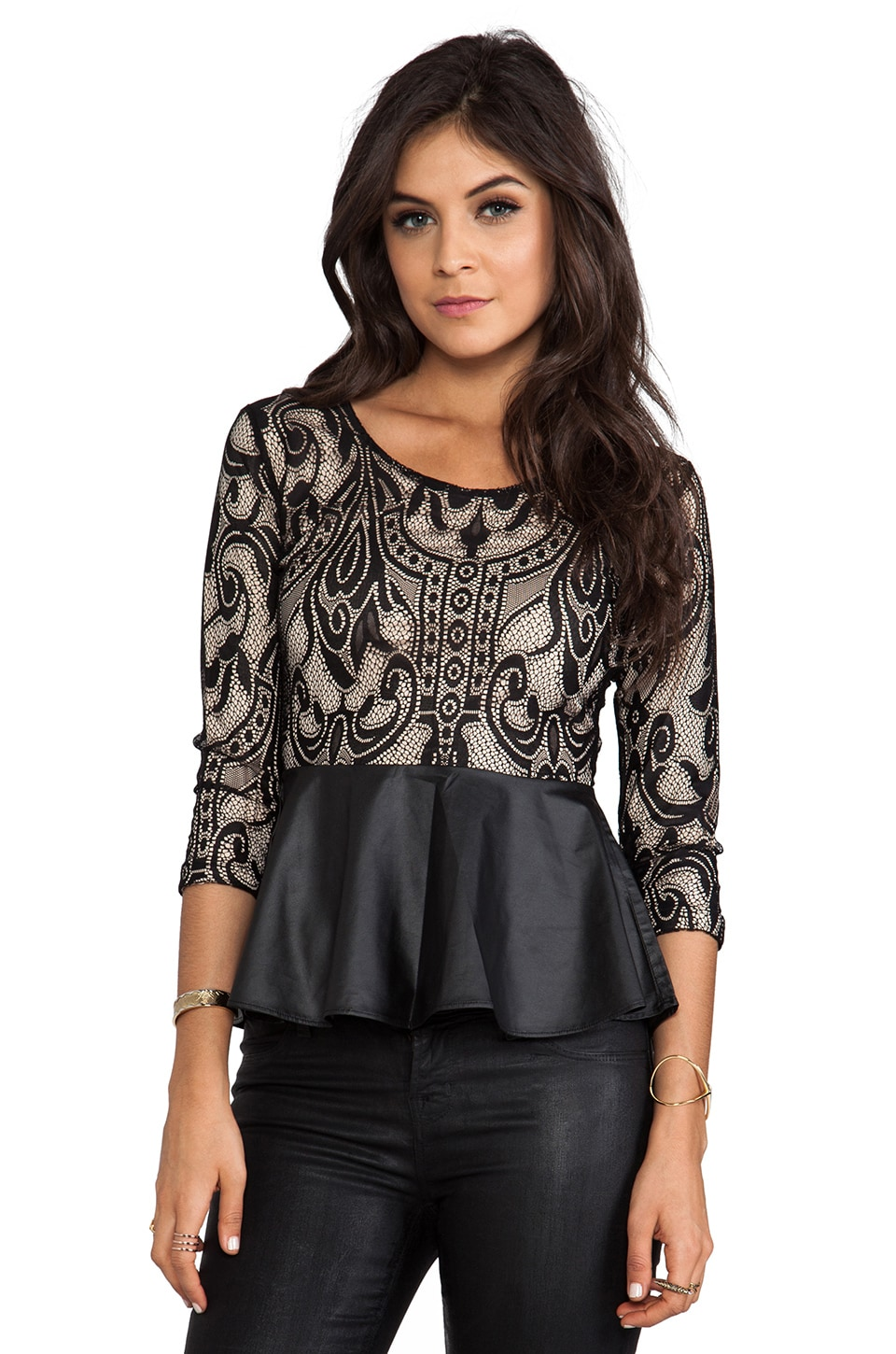 Lovers + Friends Soiree Peplum Top in Black Lace