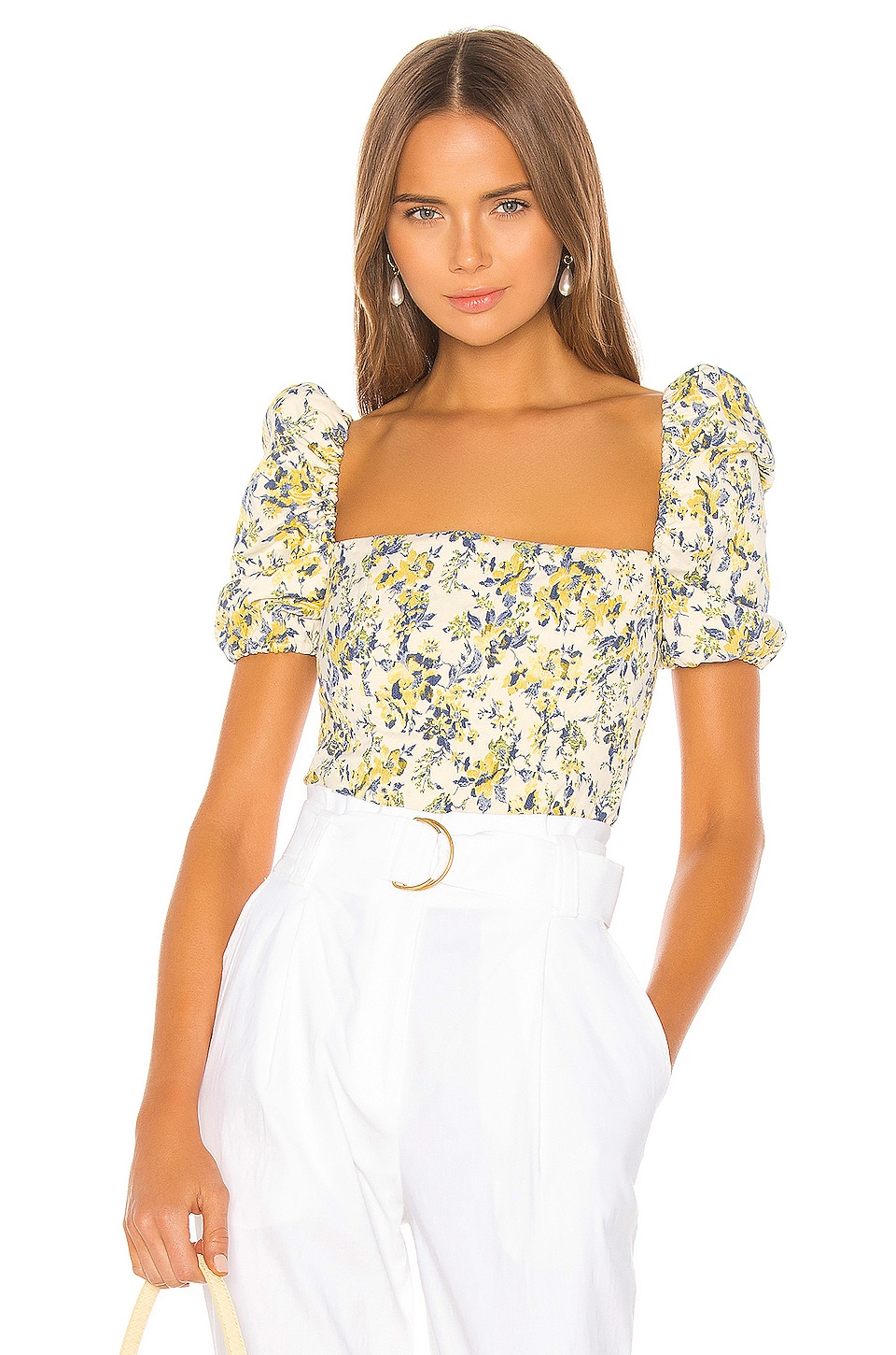 Lovers + Friends Wesley Top in Yellow & Blue