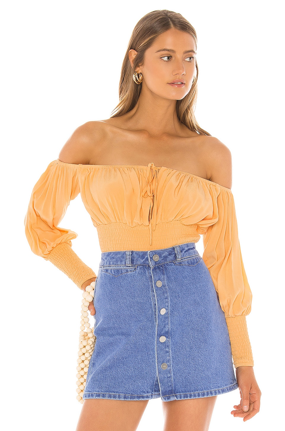 Lovers + Friends Walter Top en Tangerine Orange