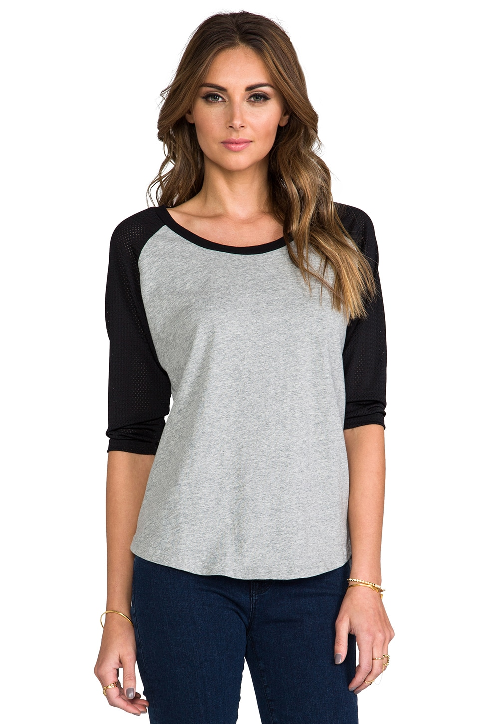 Lovers + Friends for REVOLVE Rookie Baseball Tee with Black in Grey