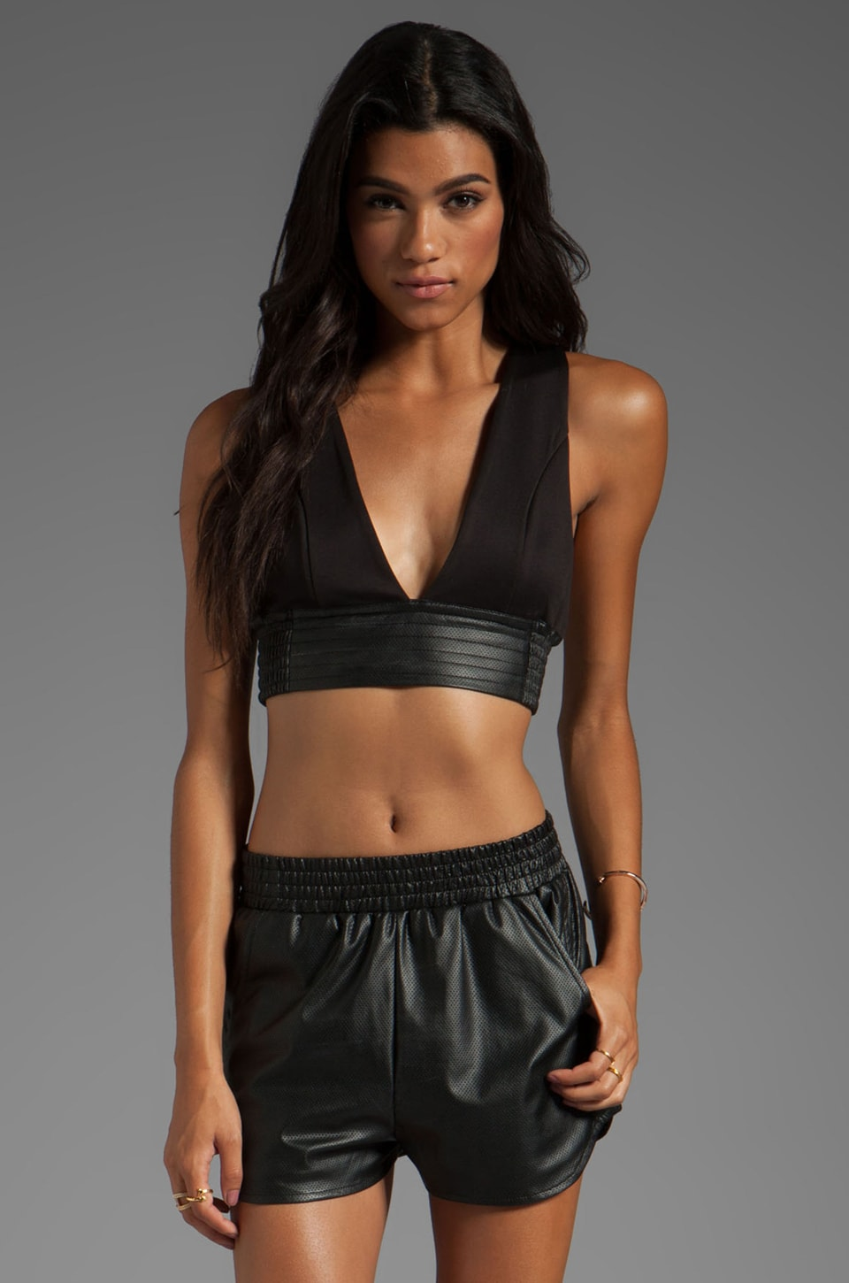 Lovers + Friends for REVOLVE Strappy Bra Crop Top in Black