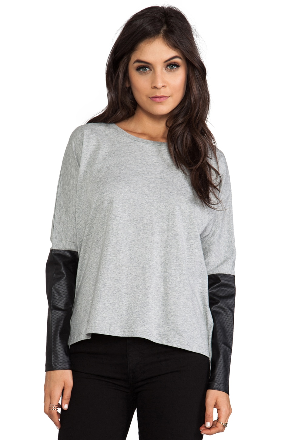 Lovers + Friends for REVOLVE Vegan Leather Tee/Black in Grey