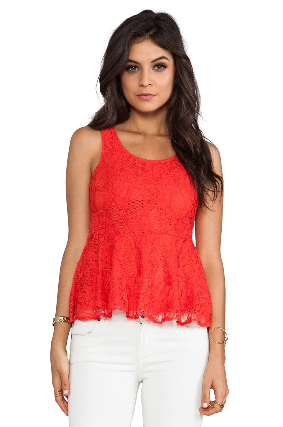 Lovers + Friends Soiree Top in Firework in Red
