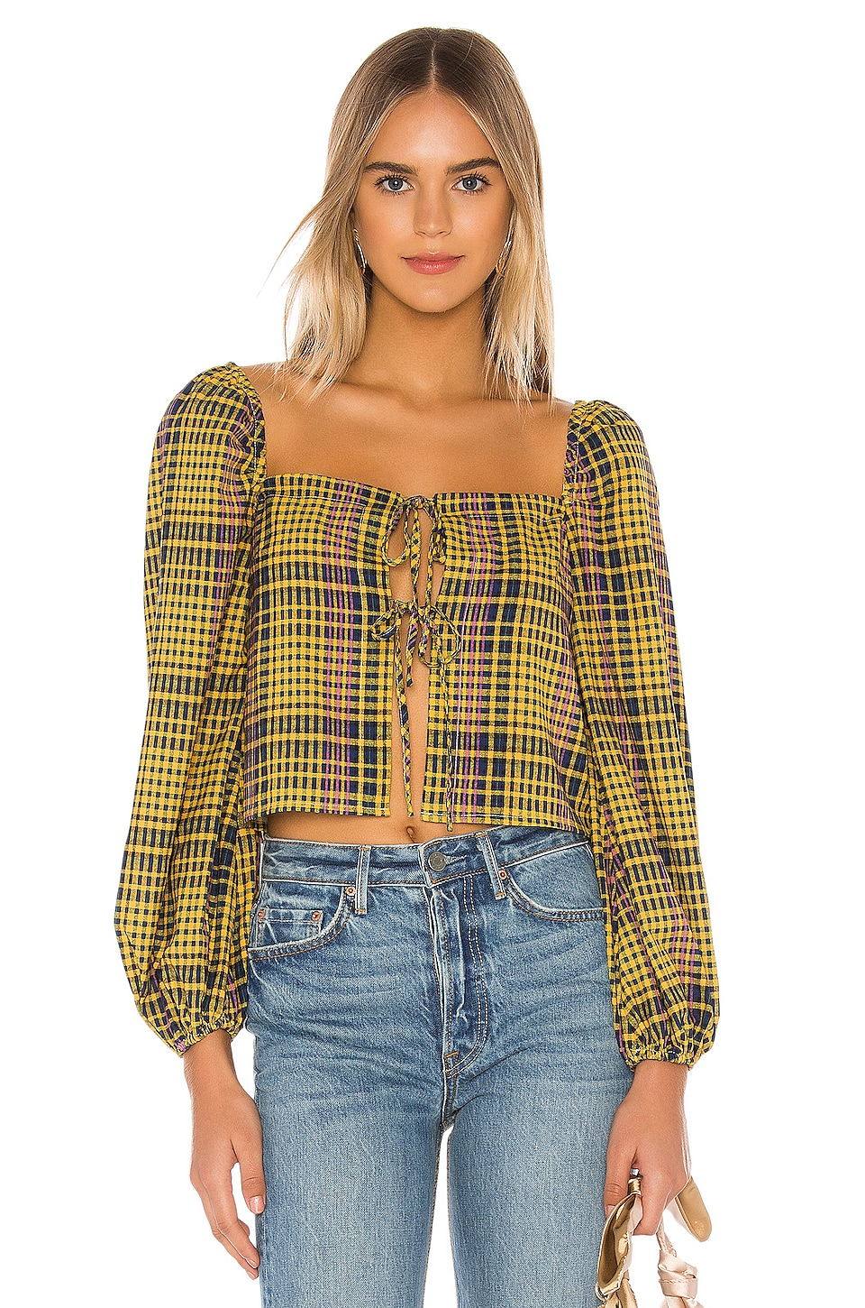 Lovers + Friends Tucker Top in Yellow Plaid