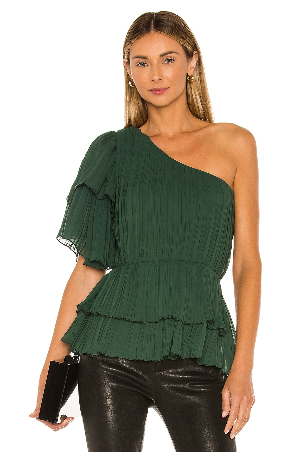 Lovers + Friends Silas Top in Emerald Green