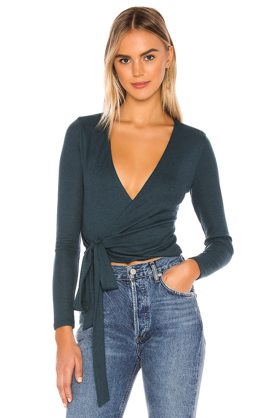 Lovers + Friends Nia Wrap Top in Teal