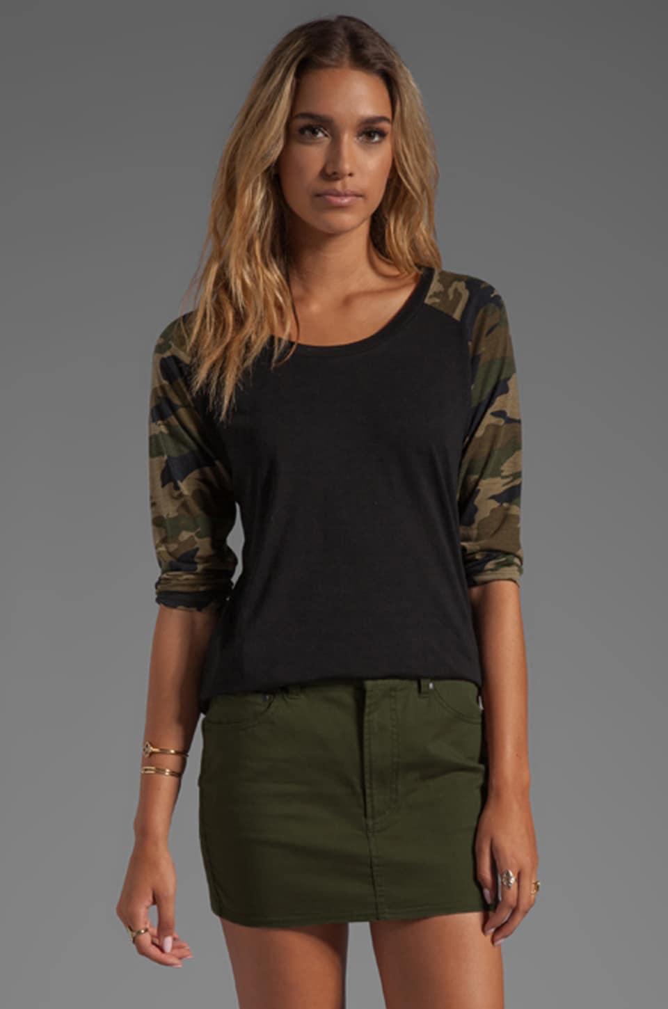 Lovers + Friends For REVOLVE Baseball Tee in Black/Camo