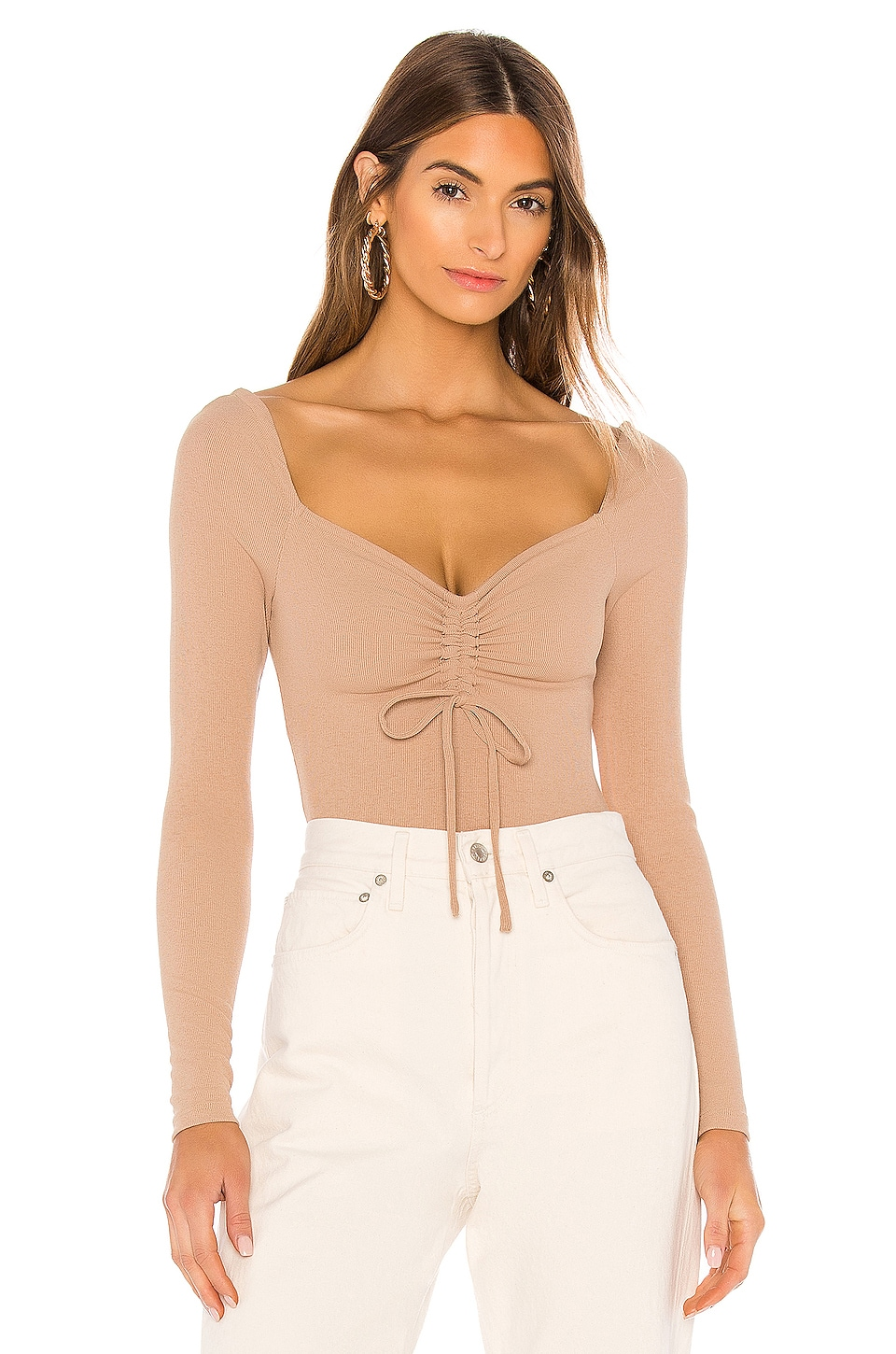 Lovers + Friends Isabella Bodysuit in Warm Taupe