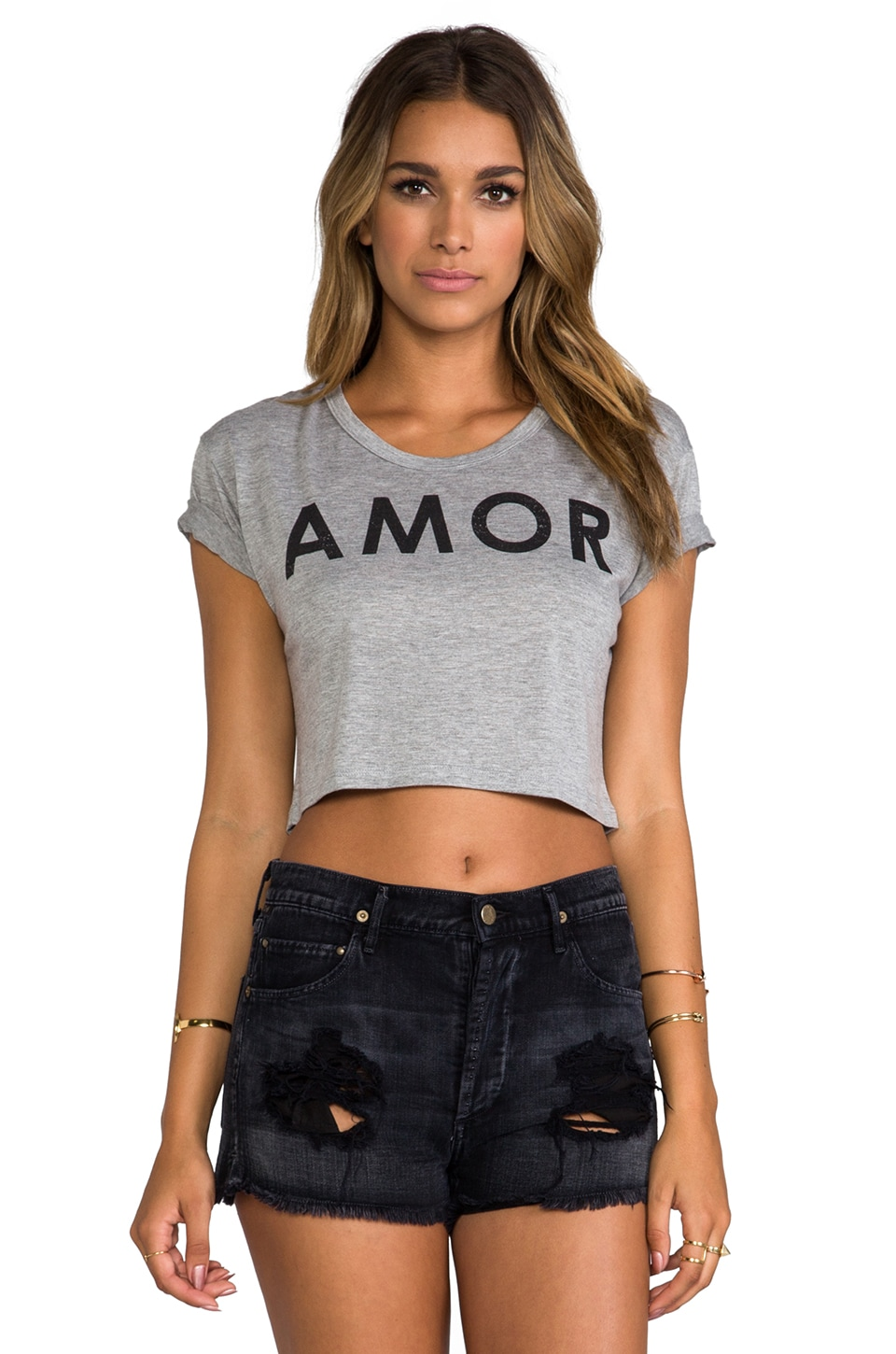 Lovers + Friends for REVOLVE Amor Cropped Tee in Heather Grey