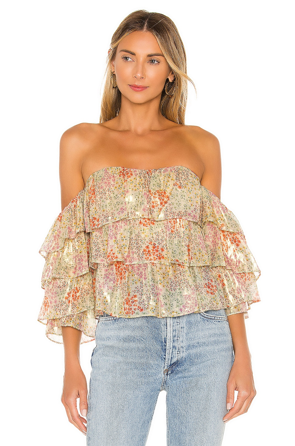 Lovers + Friends Ocean Eyes Top in Lurex Floral