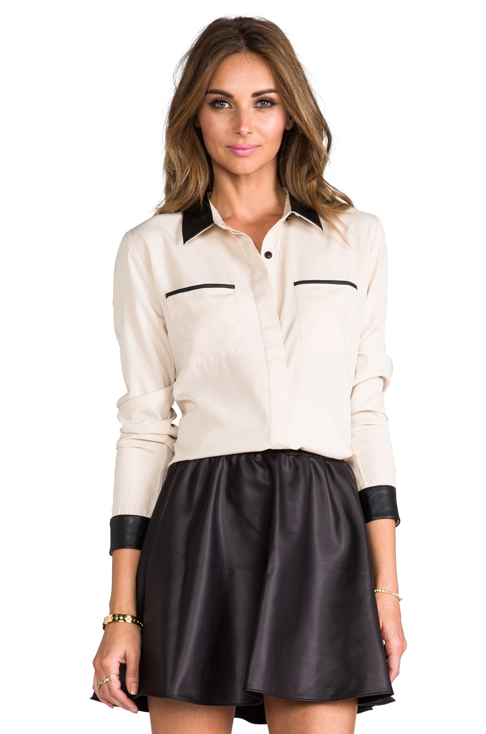 Lovers + Friends Cooper Button Down w. Leather Contrast in Cream