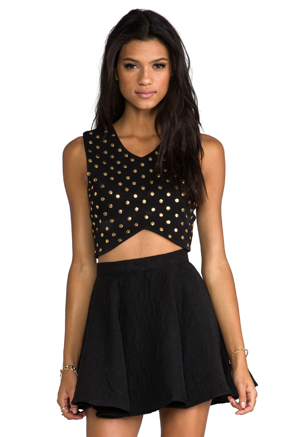 Lovers + Friends REVOLVE Exclusive Blaine Studded Crop Top en Noir