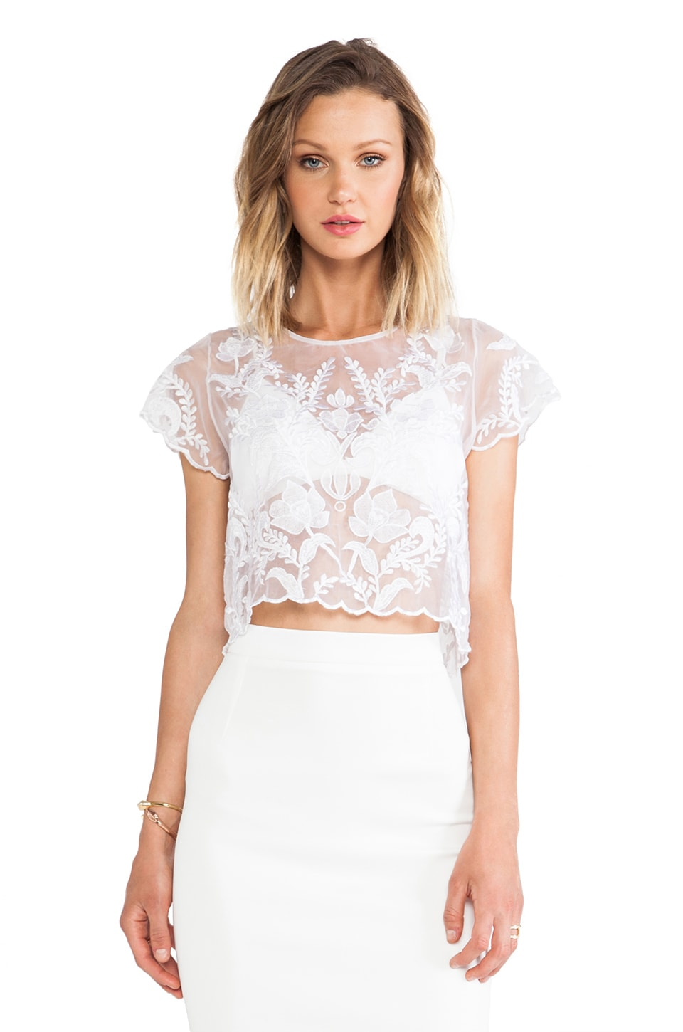 Lovers + Friends Hey Love Crop Top in White