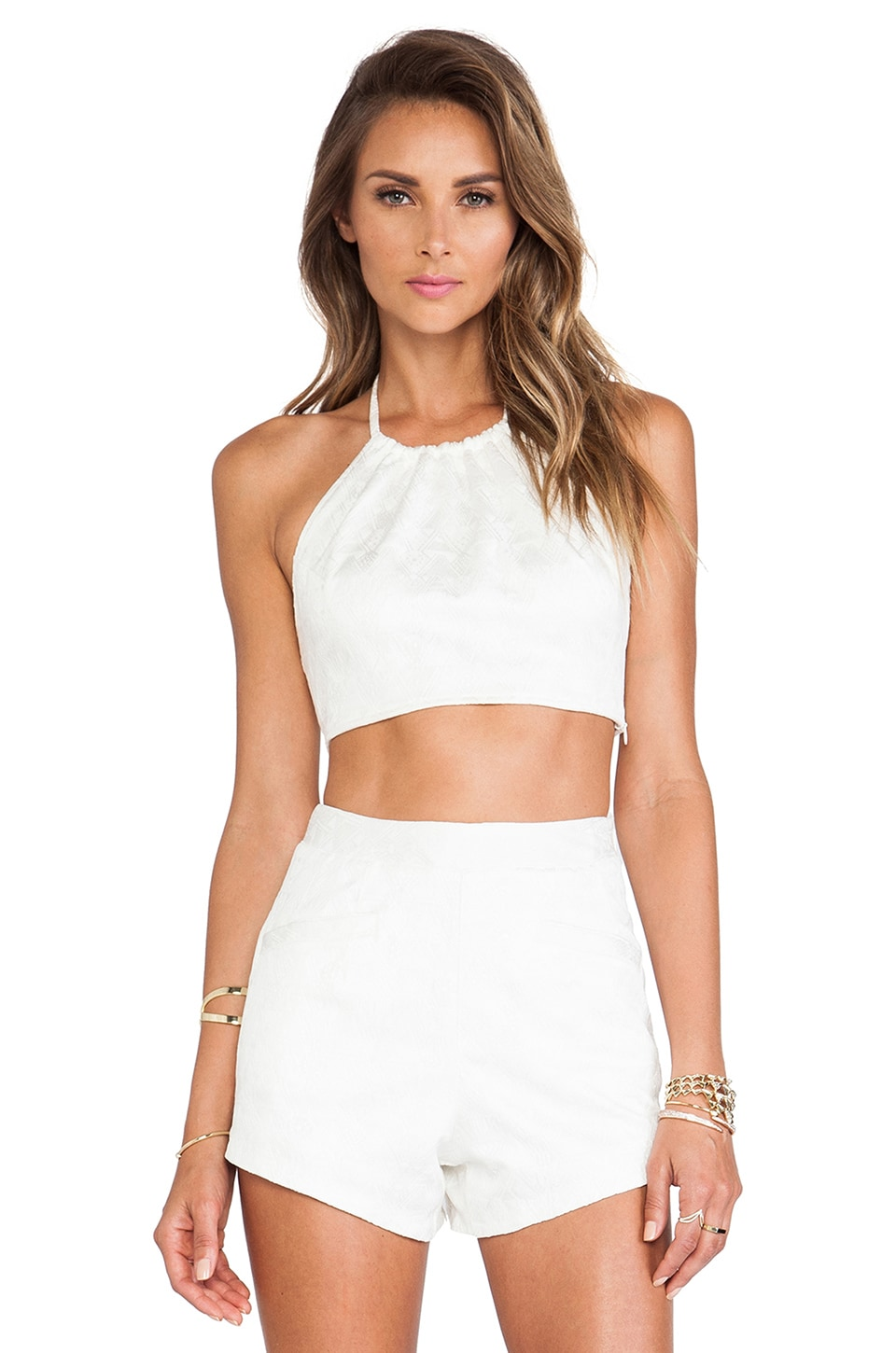 Lovers + Friends Jayda Aztec Jacquard Halter in Ivory