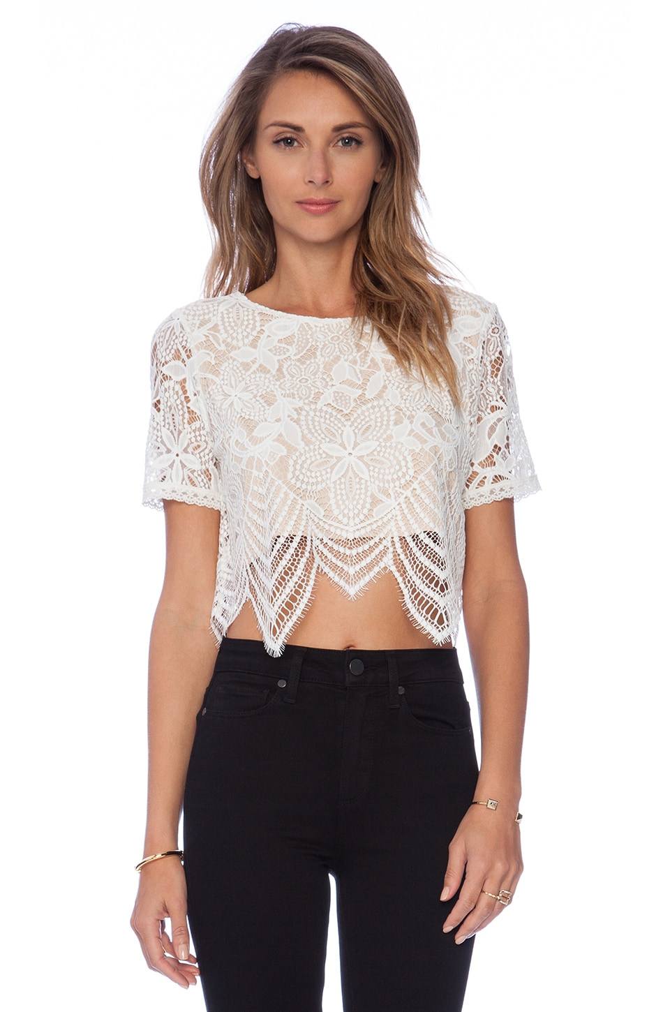 Lovers + Friends TOP CROPPED DENTELLE AFFAIR