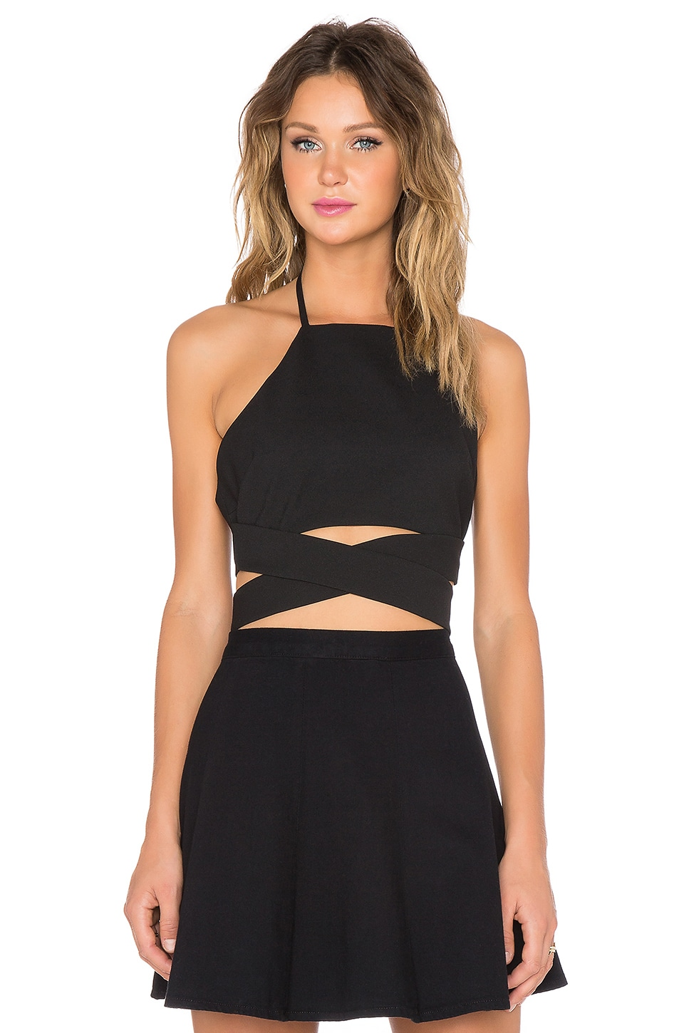 Lovers + Friends x REVOLVE Double Cross Crop Top in Black